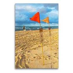 Premium Textil-Leinwand 60 x 90 cm Hoch-Format Flaggen am Strand | Wandbild, HD-Bild auf Keilrahmen, Fertigbild auf hochwertigem Vlies, Leinwanddruck von Christian Müller