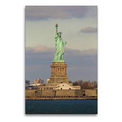 Premium Textil-Leinwand 60 x 90 cm Hoch-Format Freiheitsstatue in Manhattan New York City | Wandbild, HD-Bild auf Keilrahmen, Fertigbild auf hochwertigem Vlies, Leinwanddruck von Jana Thiem-Eberitsch