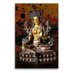 Premium Textil-Leinwand 60 x 90 cm Hoch-Format Grüne Tara, der weibliche Buddha des Mitgefühls | Wandbild, HD-Bild auf Keilrahmen, Fertigbild auf hochwertigem Vlies, Leinwanddruck von Bernd Maertens