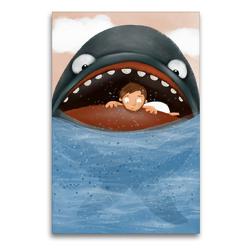 Premium Textil-Leinwand 60 x 90 cm Hoch-Format Jona und der Fisch | Wandbild, HD-Bild auf Keilrahmen, Fertigbild auf hochwertigem Vlies, Leinwanddruck von Stephanie Langowski