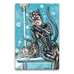Premium Textil-Leinwand 60 x 90 cm Hoch-Format Katzen im Schnee. Catwoman in snow. The most wanted girls! | Wandbild, HD-Bild auf Keilrahmen, Fertigbild auf hochwertigem Vlies, Leinwanddruck von Sara Horwath Burlesqe up your wall