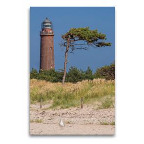 Premium Textil-Leinwand 60 x 90 cm Hoch-Format Leuchtturm Darßer Ort   Wandbild, HD-Bild auf Keilrahmen, Fertigbild auf hochwertigem Vlies, Leinwanddruck von Karl H. Warkentin