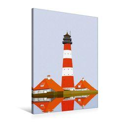 Premium Textil-Leinwand 60 x 90 cm Hoch-Format Leuchtturm Westerheversand | Wandbild, HD-Bild auf Keilrahmen, Fertigbild auf hochwertigem Vlies, Leinwanddruck von Gerhard Kraus