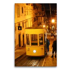 Premium Textil-Leinwand 60 x 90 cm Hoch-Format Lissabon Ascensor da Bica 2 | Wandbild, HD-Bild auf Keilrahmen, Fertigbild auf hochwertigem Vlies, Leinwanddruck von N N