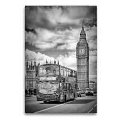 Premium Textil-Leinwand 60 x 90 cm Hoch-Format LONDON Westminster Bridge Straßenszene | Wandbild, HD-Bild auf Keilrahmen, Fertigbild auf hochwertigem Vlies, Leinwanddruck von Melanie Viola