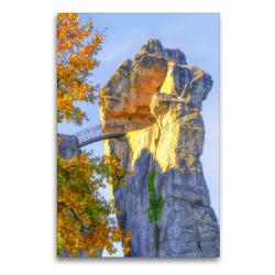 Premium Textil-Leinwand 60 x 90 cm Hoch-Format Mysteriöser Charme vom 40Meter hohen Sandsteinfelsen , Externsteine | Wandbild, HD-Bild auf Keilrahmen, Fertigbild auf hochwertigem Vlies, Leinwanddruck von Bettina Hackstein