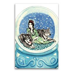 Premium Textil-Leinwand 60 x 90 cm Hoch-Format Schneekugel / Christmas ball | Wandbild, HD-Bild auf Keilrahmen, Fertigbild auf hochwertigem Vlies, Leinwanddruck von Sara Horwath