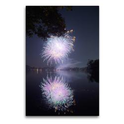 Premium Textil-Leinwand 60 x 90 cm Hoch-Format Strahlendes Feuerwerk mit Spiegelung | Wandbild, HD-Bild auf Keilrahmen, Fertigbild auf hochwertigem Vlies, Leinwanddruck von Frank Uffmann