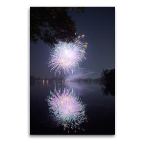 Premium Textil-Leinwand 60 x 90 cm Hoch-Format Strahlendes Feuerwerk mit Spiegelung   Wandbild, HD-Bild auf Keilrahmen, Fertigbild auf hochwertigem Vlies, Leinwanddruck von Frank Uffmann