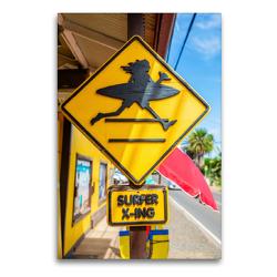 Premium Textil-Leinwand 60 x 90 cm Hoch-Format Straßenschild in Haleiwa | Wandbild, HD-Bild auf Keilrahmen, Fertigbild auf hochwertigem Vlies, Leinwanddruck von Christian Müller