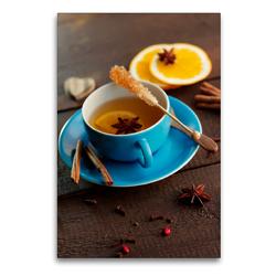 Premium Textil-Leinwand 60 x 90 cm Hoch-Format Wärmender Tee Genuss | Wandbild, HD-Bild auf Keilrahmen, Fertigbild auf hochwertigem Vlies, Leinwanddruck von Tanja Riedel