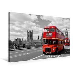 Premium Textil-Leinwand 75 cm x 50 cm quer, LONDON Houses of Parliament und rote Busse | Wandbild, Bild auf Keilrahmen, Fertigbild auf echter Leinwand, Leinwanddruck von Melanie Viola