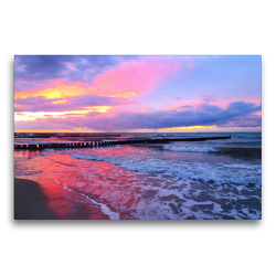 Premium Textil-Leinwand 75 x 50 cm Quer-Format Abendstimmung am Meer | Wandbild, HD-Bild auf Keilrahmen, Fertigbild auf hochwertigem Vlies, Leinwanddruck von Claudia Schimmack