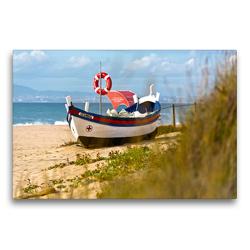 Premium Textil-Leinwand 75 x 50 cm Quer-Format Altes Fischerboot Sesimbra | Wandbild, HD-Bild auf Keilrahmen, Fertigbild auf hochwertigem Vlies, Leinwanddruck von Georg Arnold