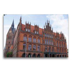 Premium Textil-Leinwand 75 x 50 cm Quer-Format Altes Rathaus vor der Marktkirche | Wandbild, HD-Bild auf Keilrahmen, Fertigbild auf hochwertigem Vlies, Leinwanddruck von kattobello
