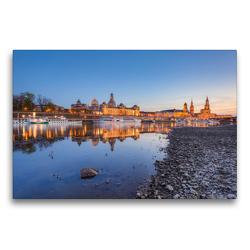 Premium Textil-Leinwand 75 x 50 cm Quer-Format Am Elbufer in Dresden | Wandbild, HD-Bild auf Keilrahmen, Fertigbild auf hochwertigem Vlies, Leinwanddruck von Michael Valjak