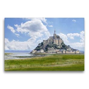 Premium Textil-Leinwand 75 x 50 cm Quer-Format Am Mont St. Michel | Wandbild, HD-Bild auf Keilrahmen, Fertigbild auf hochwertigem Vlies, Leinwanddruck von Christine B-B Müller