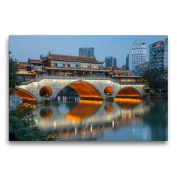 Premium Textil-Leinwand 75 x 50 cm Quer-Format Anshun Bridge over the Jin River, Chengdu, Chengdu Province   Wandbild, HD-Bild auf Keilrahmen, Fertigbild auf hochwertigem Vlies, Leinwanddruck von Christian Heeb