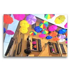 Premium Textil-Leinwand 75 x 50 cm Quer-Format Arona am Lago Maggiore: Regenschirme im Sonnenlicht   Wandbild, HD-Bild auf Keilrahmen, Fertigbild auf hochwertigem Vlies, Leinwanddruck von Christine Konkel