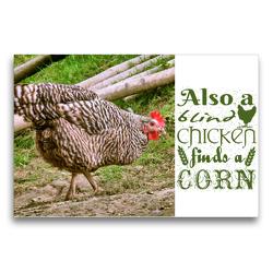 Premium Textil-Leinwand 75 x 50 cm Quer-Format Auch ein blindes Huhn findet mal ein Korn | Wandbild, HD-Bild auf Keilrahmen, Fertigbild auf hochwertigem Vlies, Leinwanddruck von Sabine Löwer