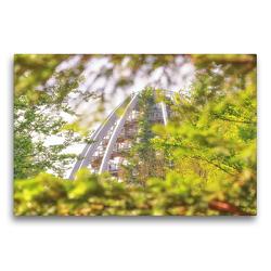 Premium Textil-Leinwand 75 x 50 cm Quer-Format Auf dem Baumwipfel Pfad im Bergmischwald | Wandbild, HD-Bild auf Keilrahmen, Fertigbild auf hochwertigem Vlies, Leinwanddruck von Bettina Hackstein
