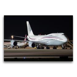 Premium Textil-Leinwand 75 x 50 cm Quer-Format B747-8 der Qatar Amiri Flight A7-HBJ nach der Landung aus Doha | Wandbild, HD-Bild auf Keilrahmen, Fertigbild auf hochwertigem Vlies, Leinwanddruck von Rainer Spoddig