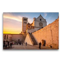 Premium Textil-Leinwand 75 x 50 cm Quer-Format Basilika San Francesco vom unteren Platz aus gesehen   Wandbild, HD-Bild auf Keilrahmen, Fertigbild auf hochwertigem Vlies, Leinwanddruck von Alessandro Tortora