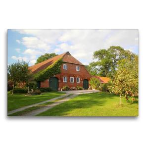 Premium Textil-Leinwand 75 x 50 cm Quer-Format Bauernhof in Butjadingen   Wandbild, HD-Bild auf Keilrahmen, Fertigbild auf hochwertigem Vlies, Leinwanddruck von Steffani Lehmann