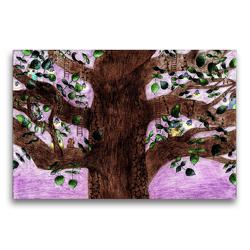 Premium Textil-Leinwand 75 x 50 cm Quer-Format Baumhaus | Wandbild, HD-Bild auf Keilrahmen, Fertigbild auf hochwertigem Vlies, Leinwanddruck von Christine Denorme