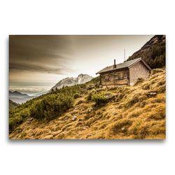 Premium Textil-Leinwand 75 x 50 cm Quer-Format Berghütte im Wettersteingebirge | Wandbild, HD-Bild auf Keilrahmen, Fertigbild auf hochwertigem Vlies, Leinwanddruck von Maik Major