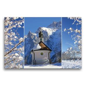 Premium Textil-Leinwand 75 x 50 cm Quer-Format Bergwinter Oberbayern Kapelle im Karwendel | Wandbild, HD-Bild auf Keilrahmen, Fertigbild auf hochwertigem Vlies, Leinwanddruck von SusaZoom