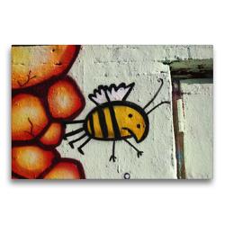 Premium Textil-Leinwand 75 x 50 cm Quer-Format Bienen Graffiti | Wandbild, HD-Bild auf Keilrahmen, Fertigbild auf hochwertigem Vlies, Leinwanddruck von SchnelleWelten