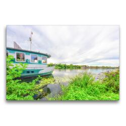 Premium Textil-Leinwand 75 x 50 cm Quer-Format Bizarre Wolkenformationen am verhangenen Himmel über der Ruhr | Wandbild, HD-Bild auf Keilrahmen, Fertigbild auf hochwertigem Vlies, Leinwanddruck von Bettina Hackstein