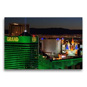 Premium Textil-Leinwand 75 x 50 cm Quer-Format Blick auf den nächtlichen Las Vegas Boulevard | Wandbild, HD-Bild auf Keilrahmen, Fertigbild auf hochwertigem Vlies, Leinwanddruck von Dieter-M. Wilczek