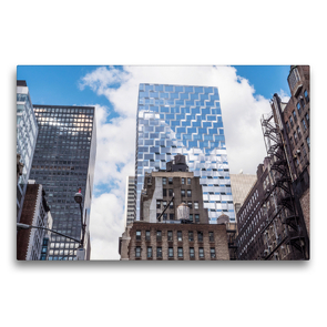 Premium Textil-Leinwand 75 x 50 cm Quer-Format Blick von der Highline auf die Gegensätze von Manhattan – Wasserspeicher und Feuerleitern | Wandbild, HD-Bild auf Keilrahmen, Fertigbild auf hochwertigem Vlies, Leinwanddruck von Michael Ermel