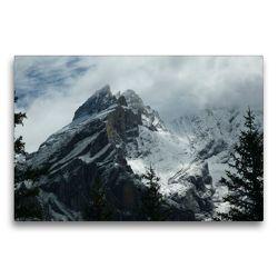 Premium Textil-Leinwand 75 x 50 cm Quer-Format Blüemlisalp in den Wolken | Wandbild, HD-Bild auf Keilrahmen, Fertigbild auf hochwertigem Vlies, Leinwanddruck von kattobello