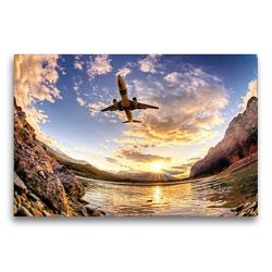 Premium Textil-Leinwand 75 x 50 cm Quer-Format Boeing 737 Transavia Innsbruck | Wandbild, HD-Bild auf Keilrahmen, Fertigbild auf hochwertigem Vlies, Leinwanddruck von N N