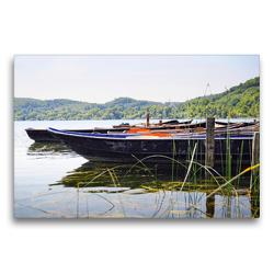 Premium Textil-Leinwand 75 x 50 cm Quer-Format Boote am Laacher See | Wandbild, HD-Bild auf Keilrahmen, Fertigbild auf hochwertigem Vlies, Leinwanddruck von Anja Frost