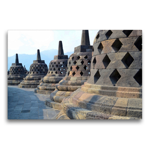 Premium Textil-Leinwand 75 x 50 cm Quer-Format Borobudur Tempel, Yogyakarta, Indonesien | Wandbild, HD-Bild auf Keilrahmen, Fertigbild auf hochwertigem Vlies, Leinwanddruck von Jasmin Krauth
