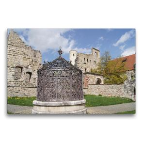 Premium Textil-Leinwand 75 x 50 cm Quer-Format Brunnen auf Schloss Hellenstein   Wandbild, HD-Bild auf Keilrahmen, Fertigbild auf hochwertigem Vlies, Leinwanddruck von Kattobello