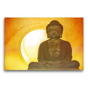 Premium Textil-Leinwand 75 x 50 cm Quer-Format Buddha in aller Stille   Wandbild, HD-Bild auf Keilrahmen, Fertigbild auf hochwertigem Vlies, Leinwanddruck von Claudia Burlager