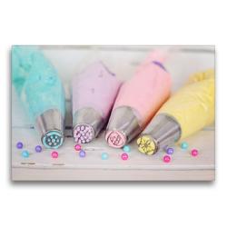 Premium Textil-Leinwand 75 x 50 cm Quer-Format Bunte Cremen für Torten und Cupcakes | Wandbild, HD-Bild auf Keilrahmen, Fertigbild auf hochwertigem Vlies, Leinwanddruck von Rose Hurley