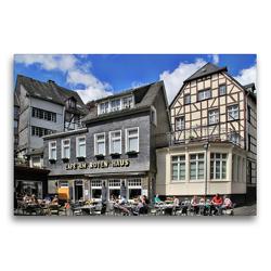 Premium Textil-Leinwand 75 x 50 cm Quer-Format Cafe am Roten Haus in Monschau | Wandbild, HD-Bild auf Keilrahmen, Fertigbild auf hochwertigem Vlies, Leinwanddruck von Arno Klatt