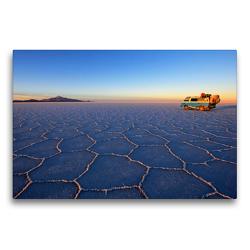 Premium Textil-Leinwand 75 x 50 cm Quer-Format Campervan auf dem Salar De Uyuni, Salzsee, Bolivien | Wandbild, HD-Bild auf Keilrahmen, Fertigbild auf hochwertigem Vlies, Leinwanddruck von © viaje.ch