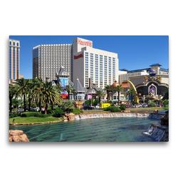 Premium Textil-Leinwand 75 x 50 cm Quer-Format Casinos und großzügige Wasserlandschaften entlang des Strip   Wandbild, HD-Bild auf Keilrahmen, Fertigbild auf hochwertigem Vlies, Leinwanddruck von Dieter-M. Wilczek