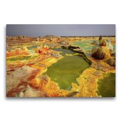 Premium Textil-Leinwand 75 x 50 cm Quer-Format Dallol Senke in Nord Äthiopien | Wandbild, HD-Bild auf Keilrahmen, Fertigbild auf hochwertigem Vlies, Leinwanddruck von Michael Herzog