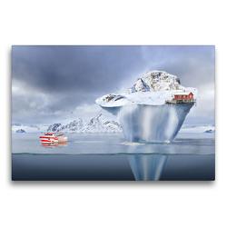 Premium Textil-Leinwand 75 x 50 cm Quer-Format Das Schleppen eines Eisbergs   Wandbild, HD-Bild auf Keilrahmen, Fertigbild auf hochwertigem Vlies, Leinwanddruck von Val Thoermer