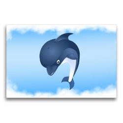 Premium Textil-Leinwand 75 x 50 cm Quer-Format Delfin Hubert ist immer neugierig | Wandbild, HD-Bild auf Keilrahmen, Fertigbild auf hochwertigem Vlies, Leinwanddruck von Monika Altenburger
