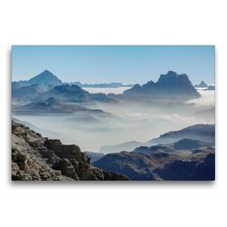 Premium Textil-Leinwand 75 x 50 cm Quer-Format Der Monte Antelao (3264 m) und der Monte Pelmo (3168 m) erheben sich über ein Wolkenmeer in den Dolomiten des Veneto | Wandbild, HD-Bild auf Keilrahmen, Fertigbild auf hochwertigem Vlies, Leinwanddruck von Martin Zwick