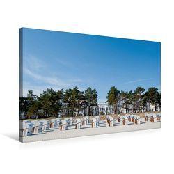 Premium Textil-Leinwand 75 x 50 cm Quer-Format Der Strand von Binz. Im Hintergrund die weißen Häuser. | Wandbild, HD-Bild auf Keilrahmen, Fertigbild auf hochwertigem Vlies, Leinwanddruck von Ingo Gerlach GDT von Gerlach GDT,  Ingo